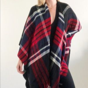 Red and Navy Plaid Blanket Wrap